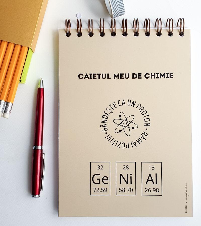 caiet de chimie cu mesaj format A5 cu spirala 60 coli cu patratele pentru elevi de liceu 1