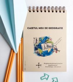 caiet de geografie cu mesaj format A5 cu spirala 60 coli dictando pentru elevi de liceu 1